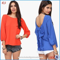 Alibaba China supplier OEM service ladies 3/4 sleeve blouse designs modern lady blouse