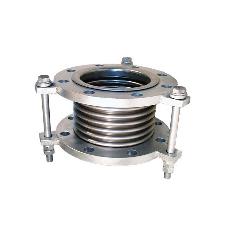 Axial muffler bellows compensator with flange