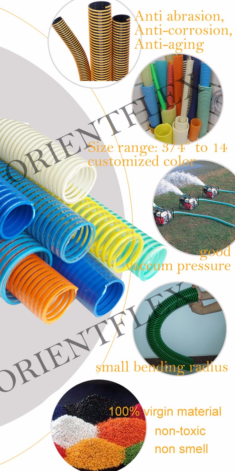 spiral reinforced pvc vacuum suction hose to agricultural pump