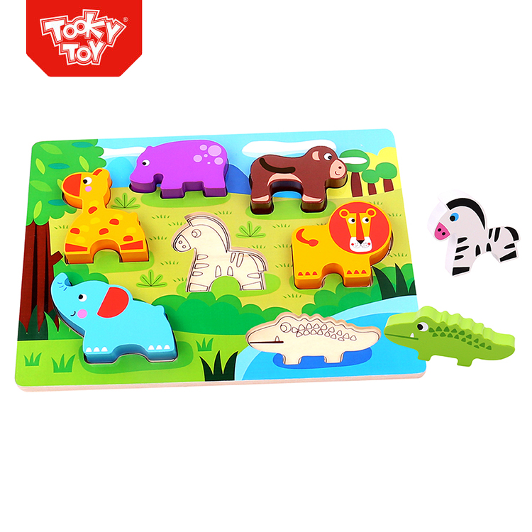 Baby chunky farm animal educational game toy animal 3d wooden puzzle