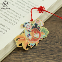China folk art mascot fish brass metal bookmark with printed color