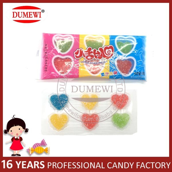 Heart Shape Sugar Coated Soft Gelatin Candy