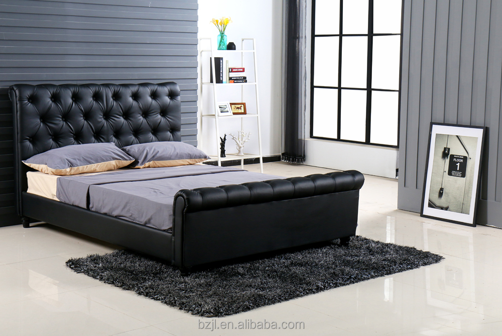 latest new pu leather double bed designs cheaper price wood bed frame high quality modern bedroom furniture buy latest double bed designspu leather bed - New Bed Frame