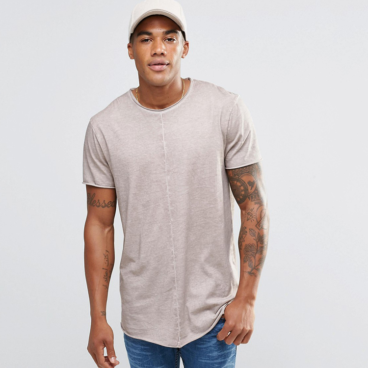 New fashion oversize longline t shirt curved hem blank tall t shirts