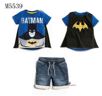children bat man t-shirt with cape and short jeans 2 pcs suit