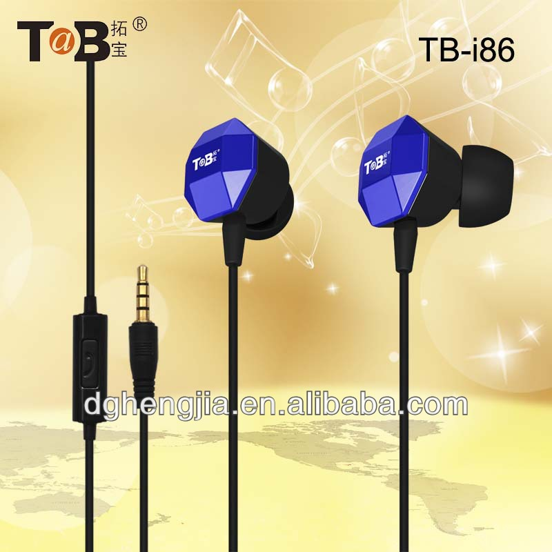 2014 product China good quality metal earphone with flact cord for mobile phone