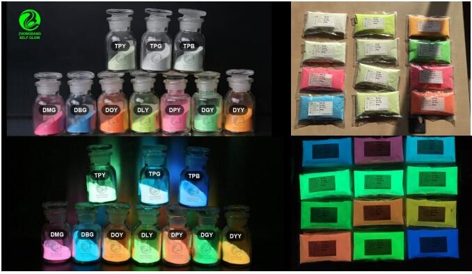 10 colors glow in the dark pigment photoluminescent 100G each <strong>color</strong> for nail polish use