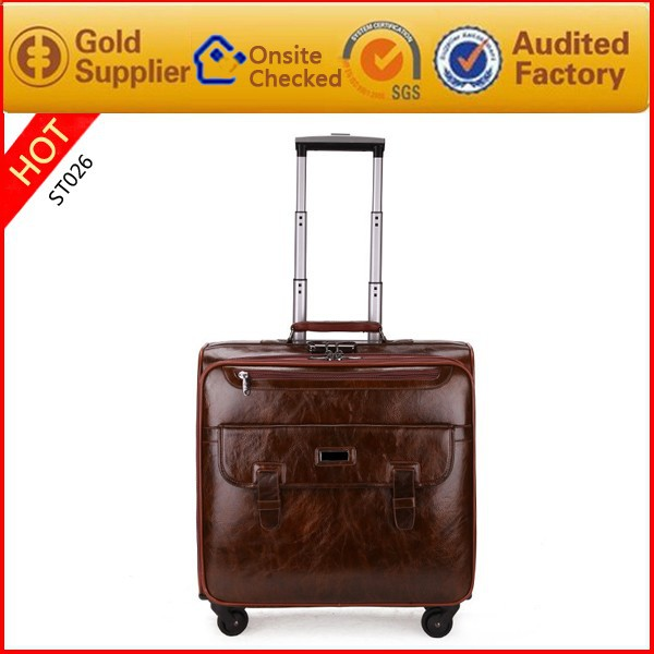 Vintage small leather airport luggage trolley bags for Men and Woman