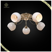 2016 New Arrival France Gold Plated With 5 Lights Fancy Glass Ceiling Light For Home Decoration,White Color Ceiling Light