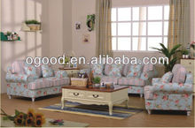 Popular home decorate floral fabric sofa design OS5058