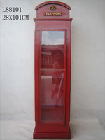 Professional Design,Classical England Telephone Showpieces For Home Decoration/store display/Wooden Glass Cabinet