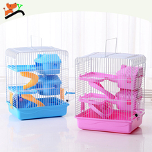 Wholesale Foldable Three Layers Hamster Cage with Pot and Wheel Pink