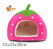 PopStar@ Soft Sponge Strawberry Tent Bed for Pets Dog Cat Pet Bed House w/ Warm Plush Pad (MCCW-MW-PK-M)