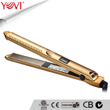professional gold LCD flat iron hair straightener