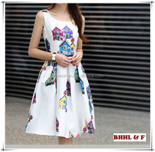 New 2015 Fashion Casual Dress House Pattern Print Party White Dress Sleeveless O Neck Mini Summer Vestidos Women Dresses