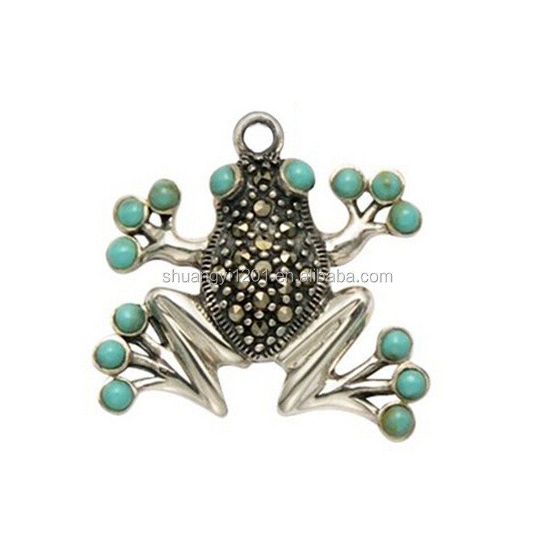 Fashion summer rhinestones marcasite frog with turquoise eyes and toe pads pendant