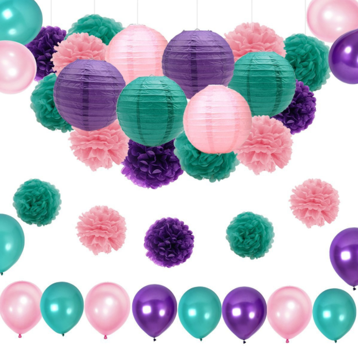 Amazon Hot Mermaid  Baby Shower Birthday Party Decorations Supplies Paper Lantern and Tissue Paper Pom Poms and Latex Balloon