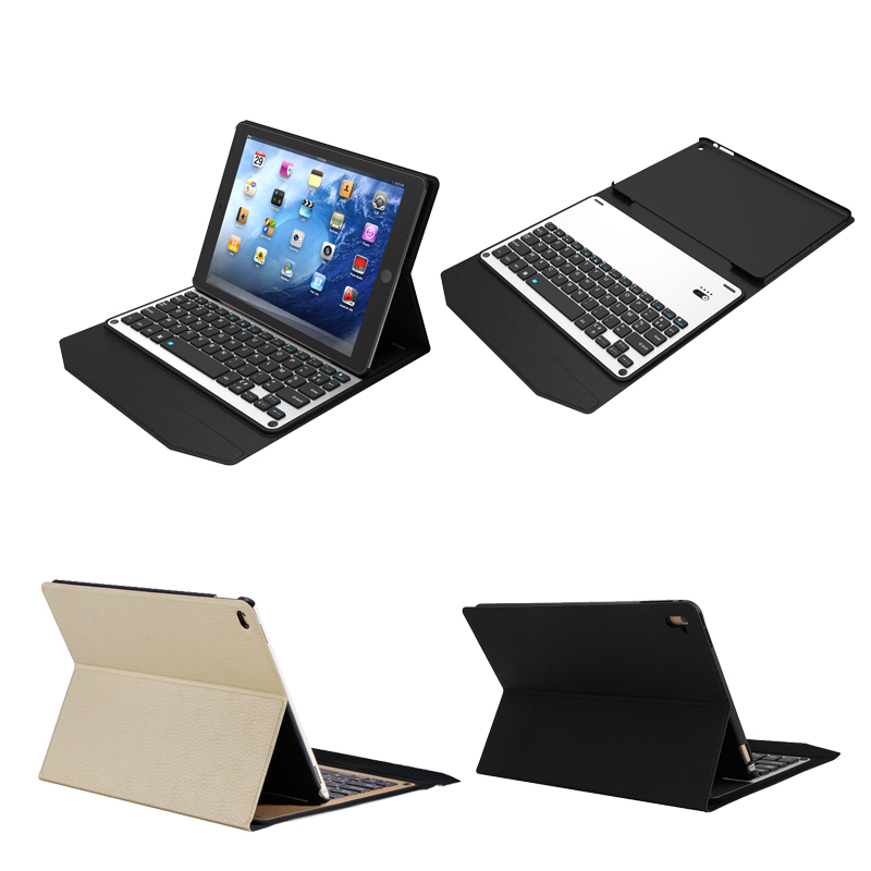 luxury ultra-thin Aluminum bluetooth keyboard leather case for ipad pro 9.7inch
