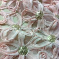 Tulle chiffon coiling embroidery with sequins for garment