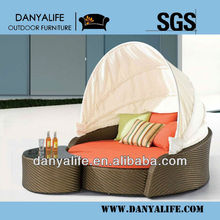 DYBED-D2214,Wicker Garden Patio Sun Bed,Rattan Outdoor Leisure Double Daybed,Cane Swimming Pool Lounger Bed,Round Beach Sun Bed