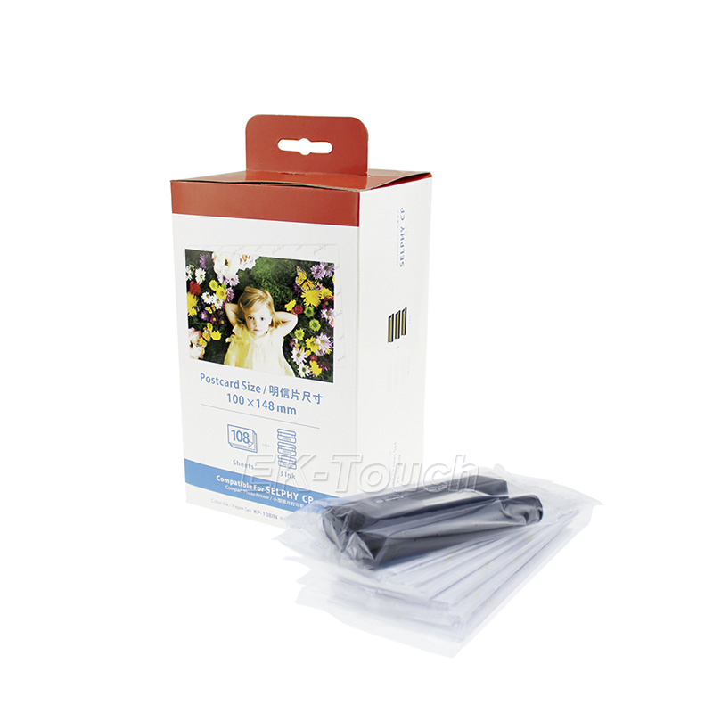 Cheap compatible kp-108in ribbon ink cartridge for Canon kids photo selphy CP1000 photo paper