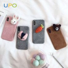 [UPO] Woolen cute carrot Plush White Rabbit cartoon silicon phone cover case for iPhone X
