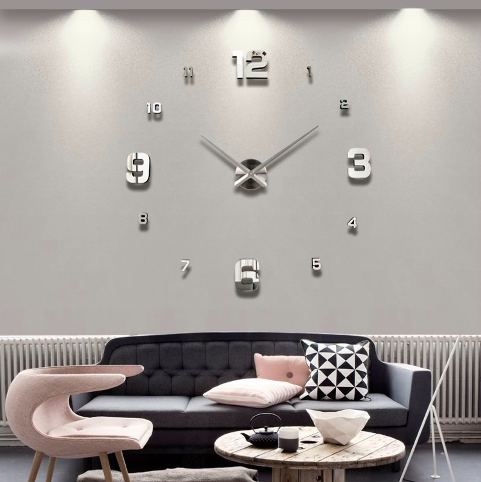 Diy Acrylic Mirror Stickers Quartz Clock Large Decorative 3d Wall ...