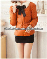 2013 NEWEST WINTER WOMAN'S FASHION ROUND COLLAR BOWKNOT COTTON COAT