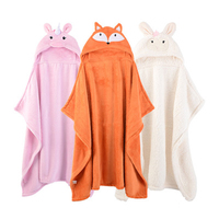 Supper Dri Soft Plush Hooded Animal Baby Bathrobe Cartoon Character Baby Towel Kids Orange Bath Robe Infant Towels