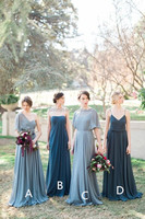 Western Country Bridesmaid Dresses Long Mismatched Cheap Chiffon Wedding Party Dresses