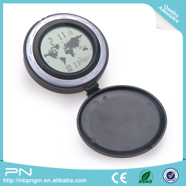 Promotional Round World Map Time Digital Pocket Clock