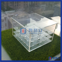 Wedding decoration acrylic flower display container / clear acrylic rose box with lid
