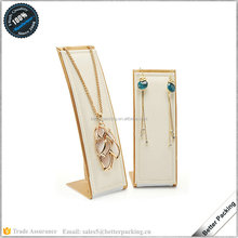 wholesale luxury durable PU leather jewelry pendant necklace earring display stand L shape design