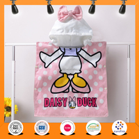 2016 china Wholesale fashion 100% cotton reactive printed Lovely Cartoon kids hooded poncho towel , hooded bath towel for girl