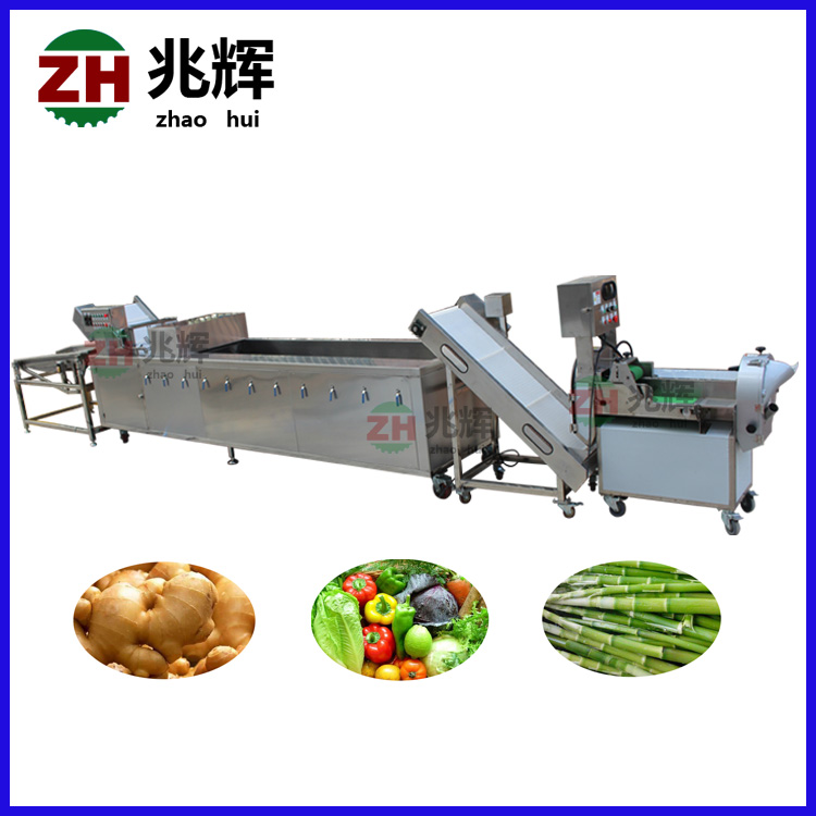 Automatic fruit and vegetable cutting washing drying machine