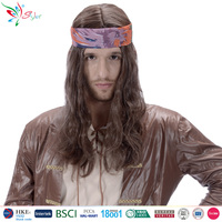Styler Brand fashion party halloween wig long brown curly synthetic hair wigs for men