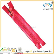 Red Waterproof close end plastic zipper for wholesale