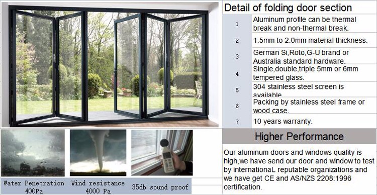 Hot sale HT75 series aluminum alloy glass folding door