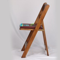 brown wood/wooden folded/folding/foldable chair