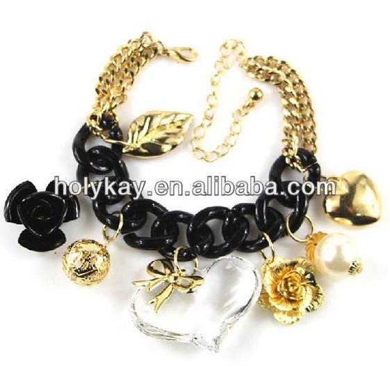 2014 new products fashion big black enamel pave link chain bracelet with multi charms