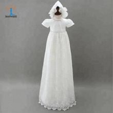 Baby girl beaded christening gown with laciness