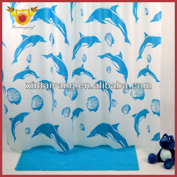 Dolphin Printed Drapes Cute Kids Door Curtains