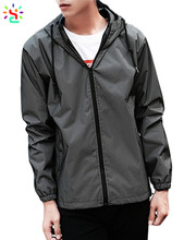 Custom 3m reflective safety jacket zipper 100% polyester running jacket light weight dancing jacket