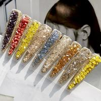Ins Girl 9 Color Small Cute Fashion Hairpin Rhinestone Side Clip Crystal Duckbill Hair Clip For Women