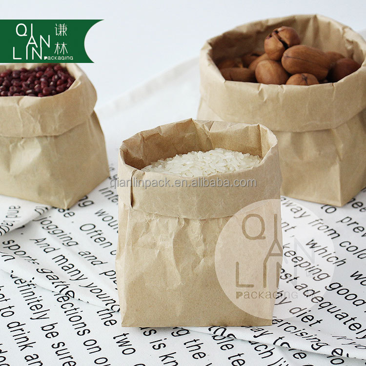 70g food grade brown kraft paper bag with customized logo printing