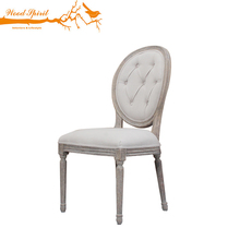 Antique Reproduction Louis Xvi French Provincial Style Upholstered Oak Solid Wooden Round Back Dining Chair