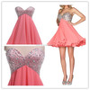 pink prom dress short sleeveless dress party dress for young ladies