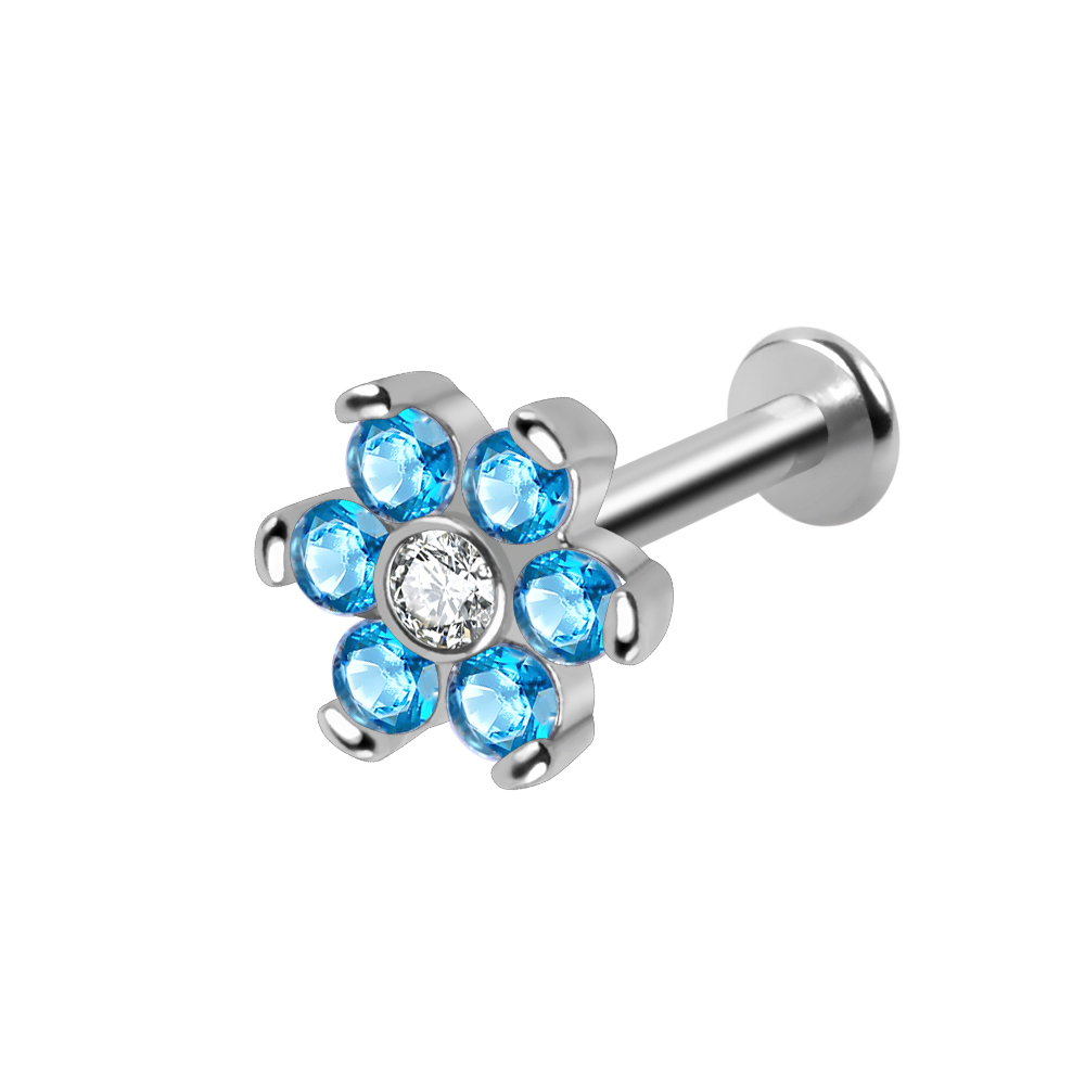 14g cz crystal flower labret piercing stud internally threaded ear tragus