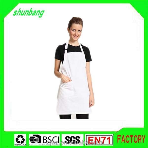 2015 promotional restaurant ladies long apron with front pocket