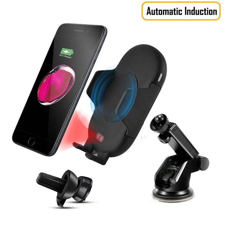 <strong>2</strong> in <strong>1</strong> Fully Automatic Infrared Sensor 10W Air Vent Mount Phone Stand Holder Fast Wireless Car Charger for iPhone <strong>X</strong>/XS/8 Plus